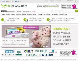 Capture d'écran du site de vente en ligne 1001 Pharmacies